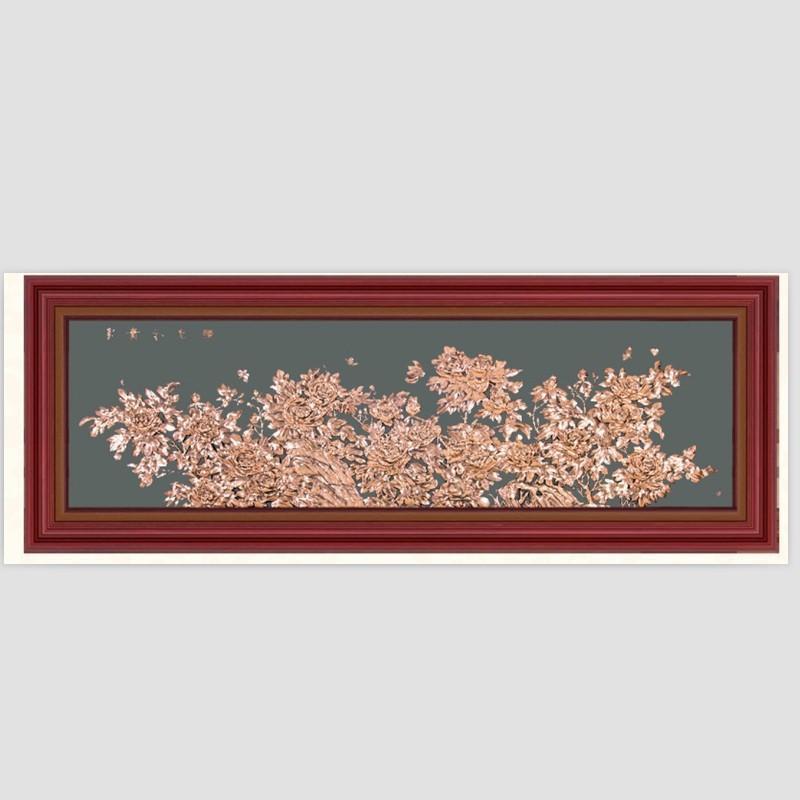 富贵图紫铜浮雕牡丹花卉客厅装饰壁画实木背景墙风水