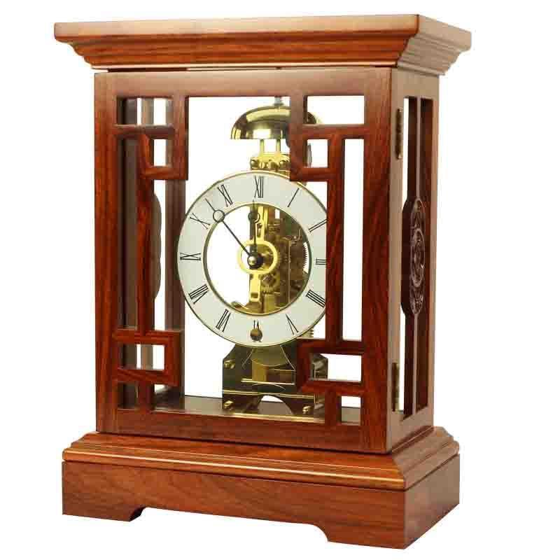 【北极星】北极星t1267欧式古典红木台钟透视机械