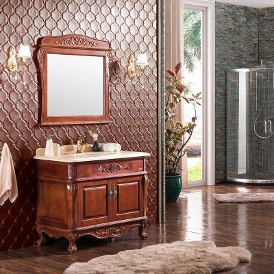 欧式卫浴柜组合 落地橡木卫生间洗漱台洗手池柜