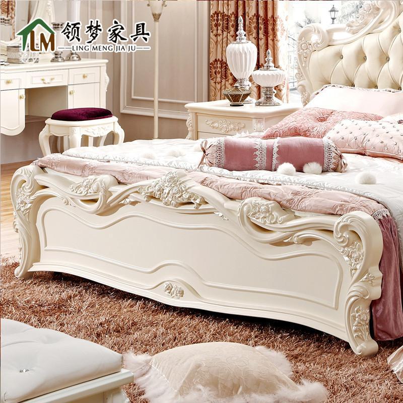 领梦家具 时尚欧式双人床 白色田园公主床 真皮实木床 1.8米婚床 1.