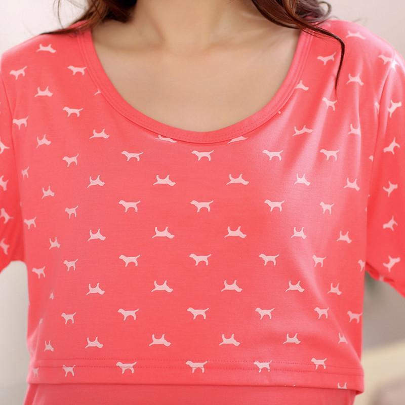 服可爱卡通pink长袖开胸哺乳韩睡衣套装
