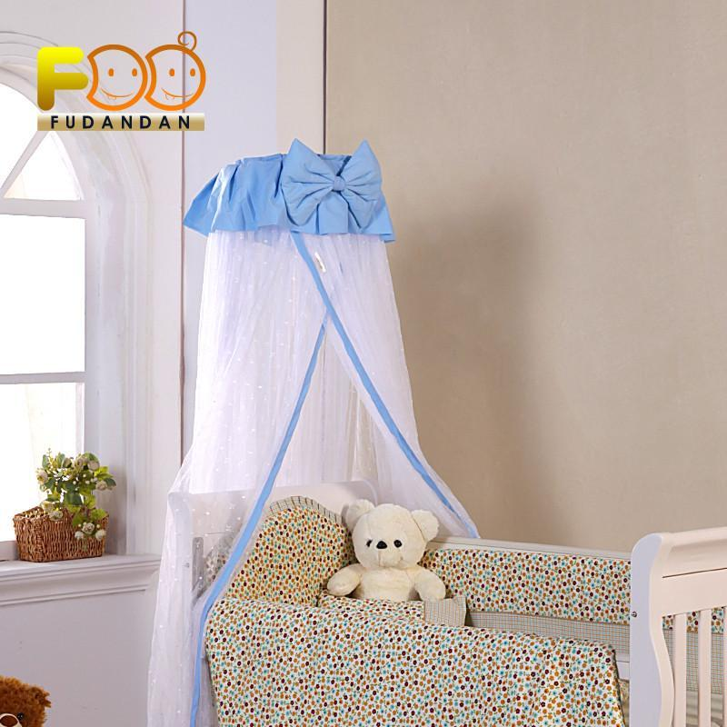 福蛋蛋 婴儿床宝宝床免安装落地式蚊帐 加密雪纺加厚支架 蝴蝶结蓝色