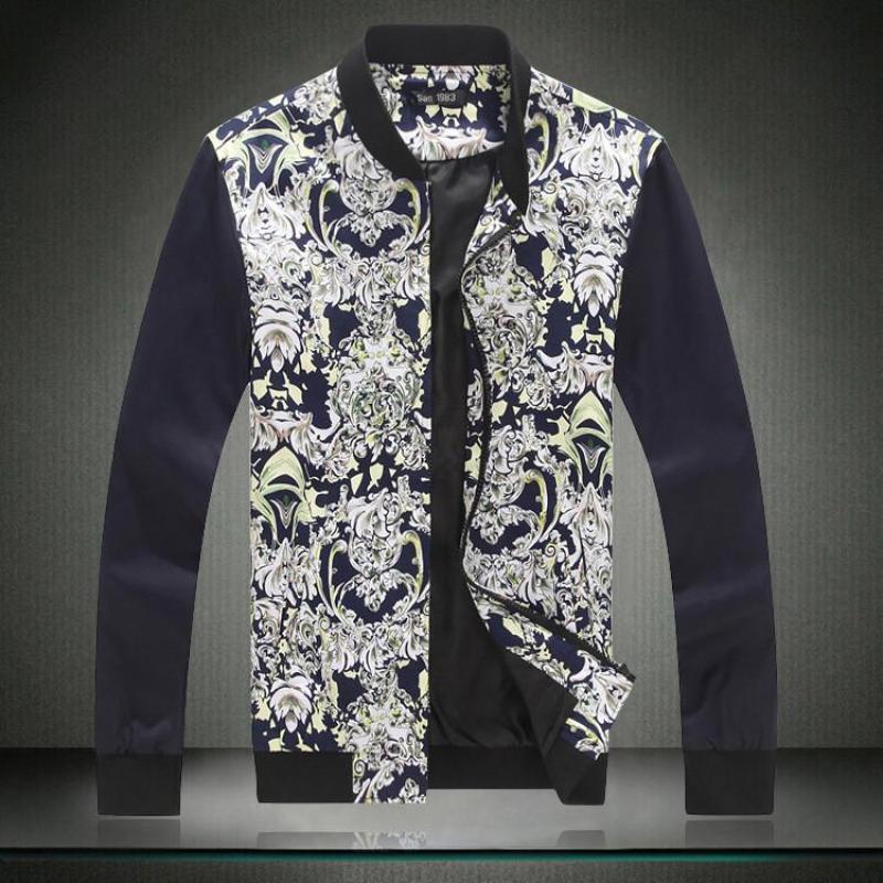 蒙加加肥加大码秋季新款美式迷彩修身印花长袖外套夹克男装 6602 黑色