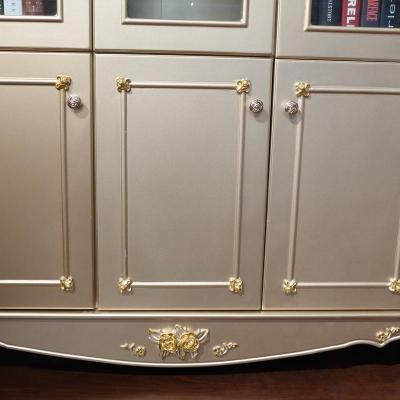 欧式书柜奢华书柜实木雕花书橱三门书架书房储物柜