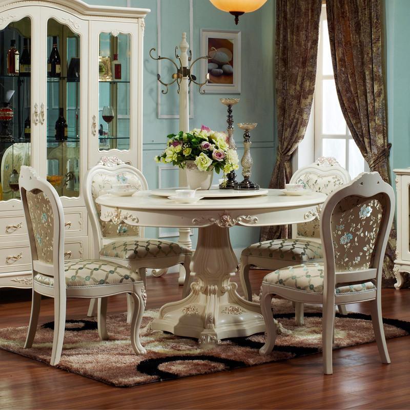 【法丽莎家居】法丽莎家具g8欧式圆餐桌宜家餐桌餐椅