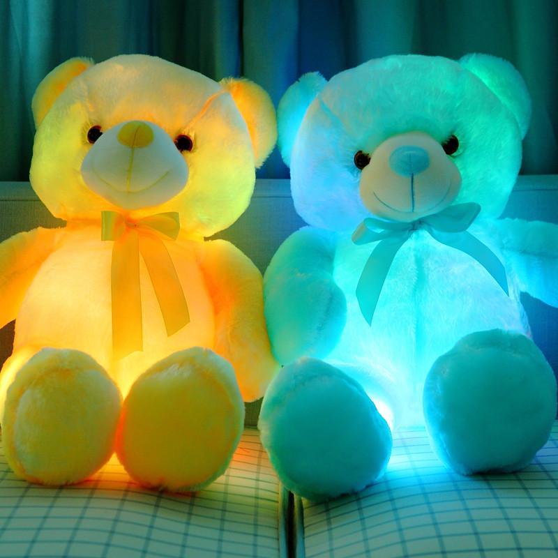 安吉宝贝 创意发光泰迪熊毛绒玩具熊夜光抱抱熊带音乐