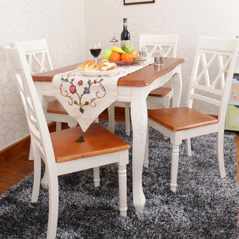 海木源林家具 欧式田园纯实木地中海双色餐桌椅组合 象牙白韩式弯腿
