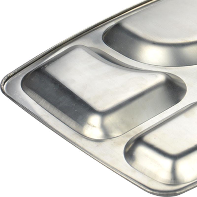 锐佳 不锈钢加厚四格学校快餐盘托盘学生食堂专用餐盘