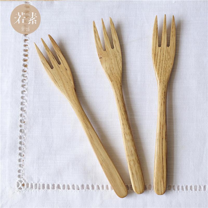 若素生活原木质创意西餐具环保日式水果签蛋糕甜品叉点心刀叉子