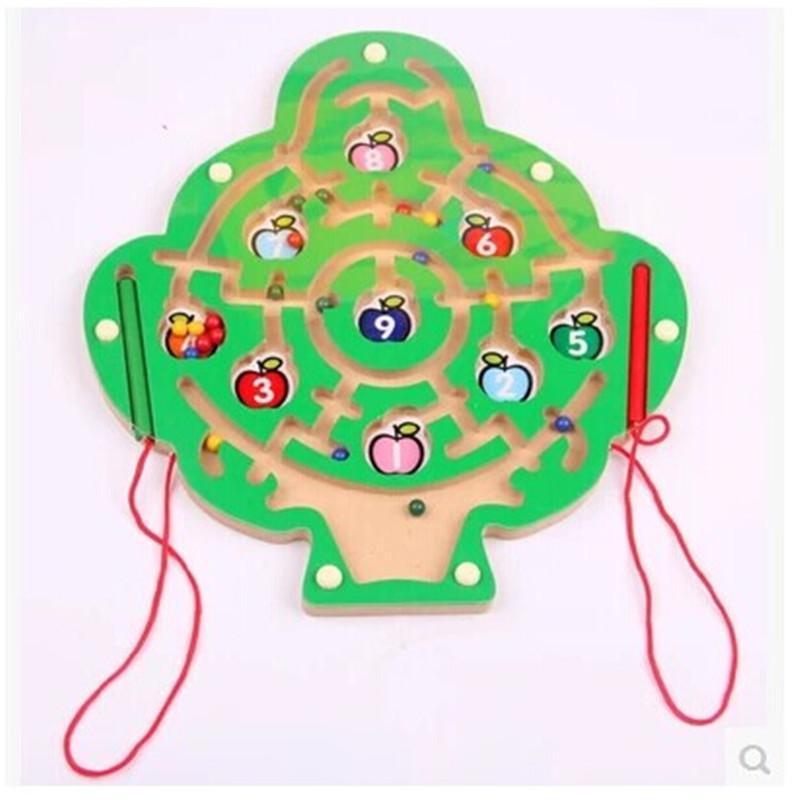 母婴 玩具 积木拼插 迷宫/拼图 全密封 数字苹果树磁性运笔迷宫走珠子