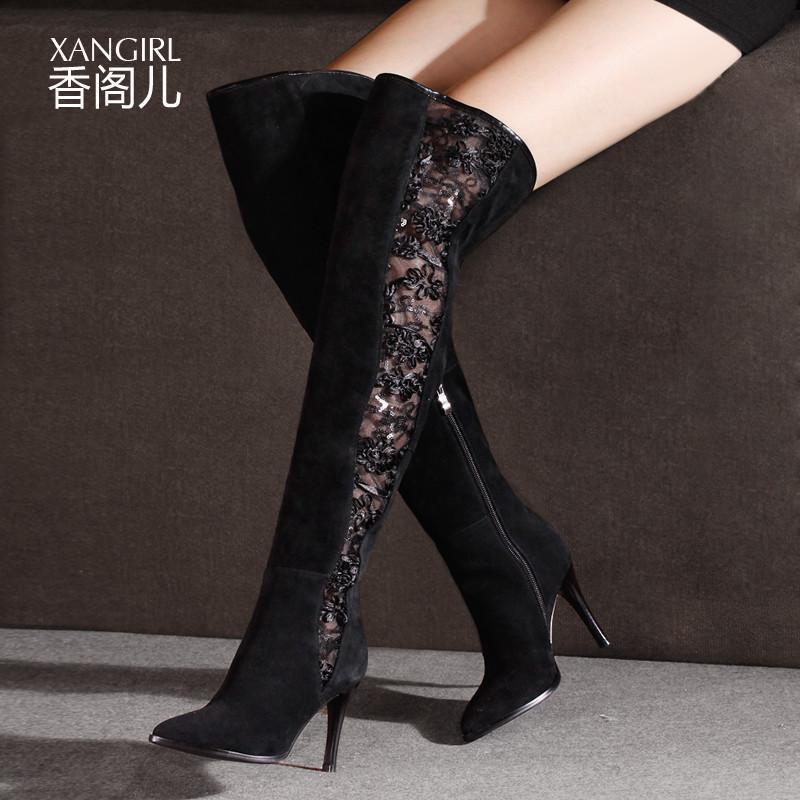 新款花纹装饰欧美高筒过膝长靴女靴子