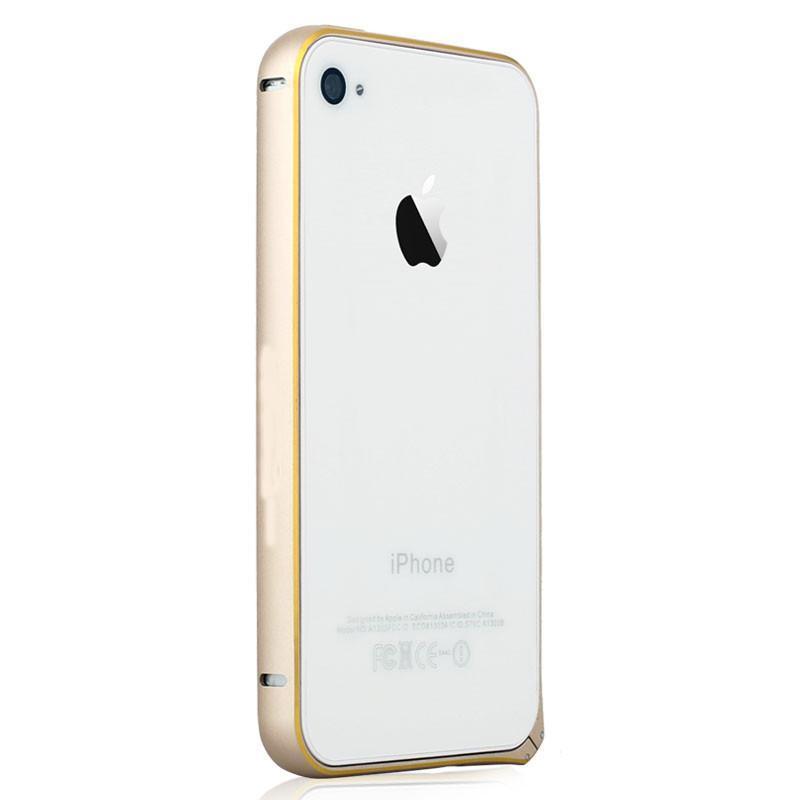 易思博 圆弧金属边框壳手机保护套 适用于苹果iphone4