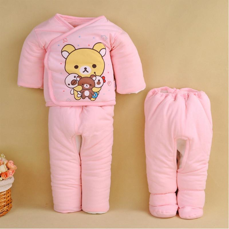 angelbaby新生儿棉衣童套装宝宝衣服棉服卡通可爱小熊