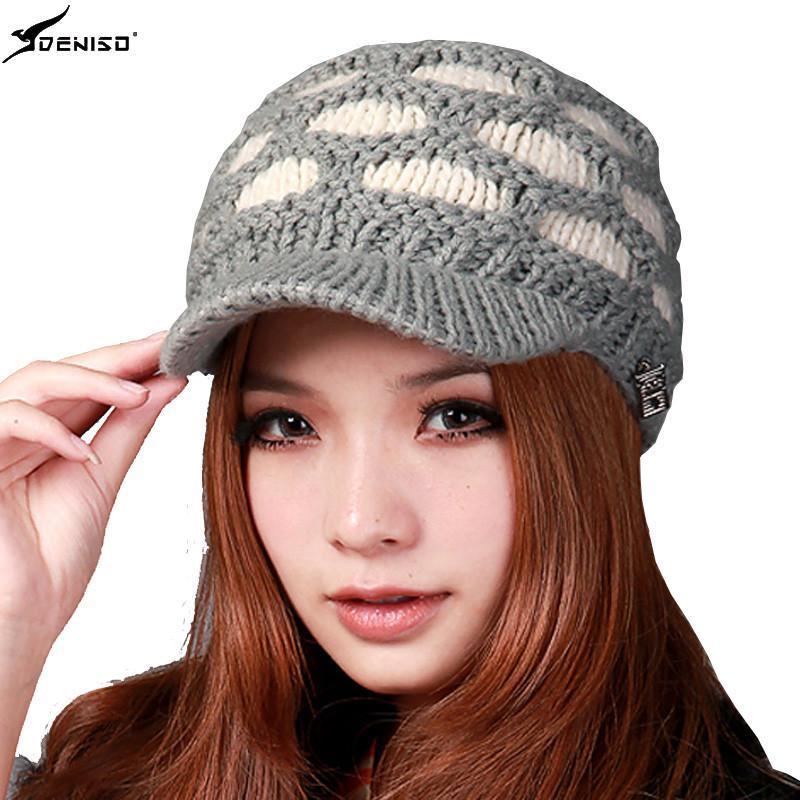 deniso秋冬女款手工编织帽毛线帽棒球针织帽ds-1111 灰色
