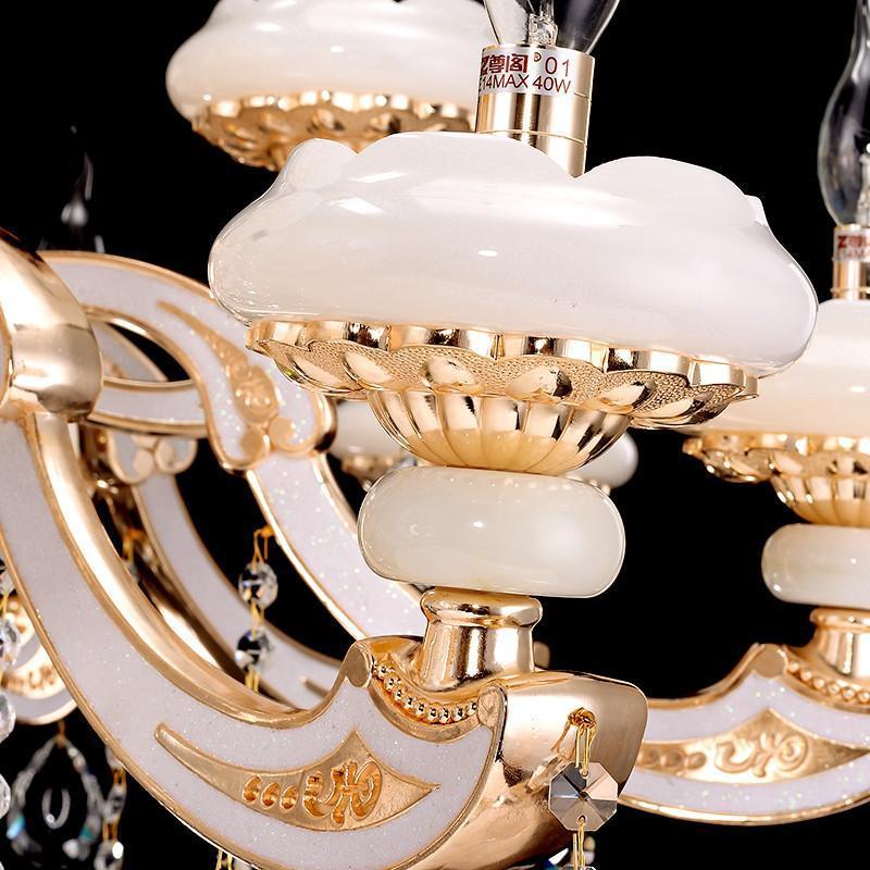 欧式顶级玉石灯蜡烛水晶吊灯 欧式灯高端客厅餐厅水晶