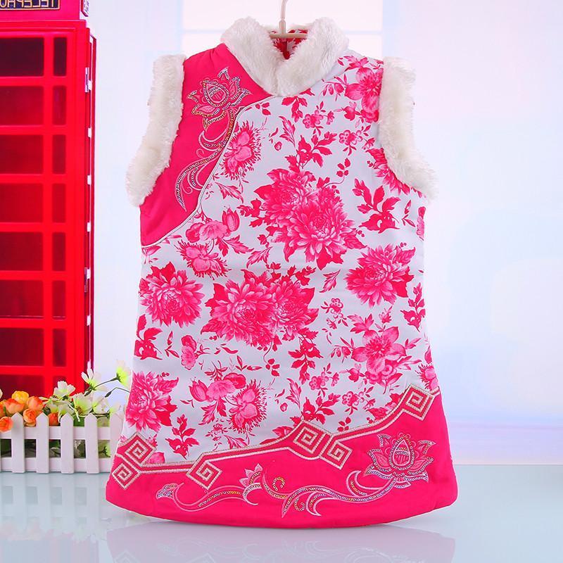 新款儿童旗袍女童旗袍/公主裙生日装宝宝复古唐装