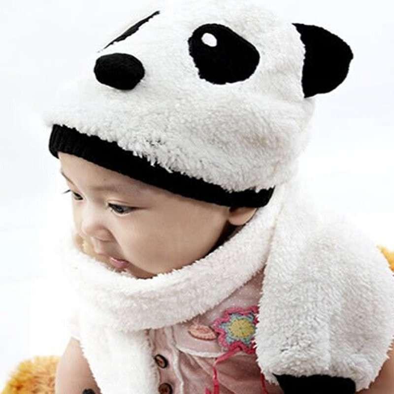 冬季儿童帽子男女童帽婴儿帽 宝宝棉帽熊猫造型帽子围巾套装 蓝色 1-3