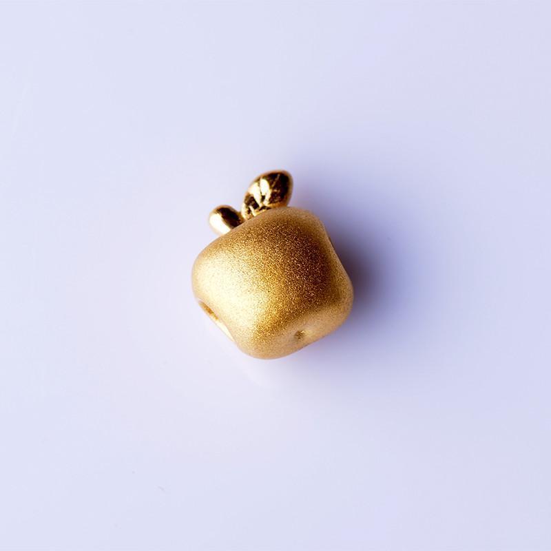 小苹果999千足金转运珠黄金首饰红绳男女手链0