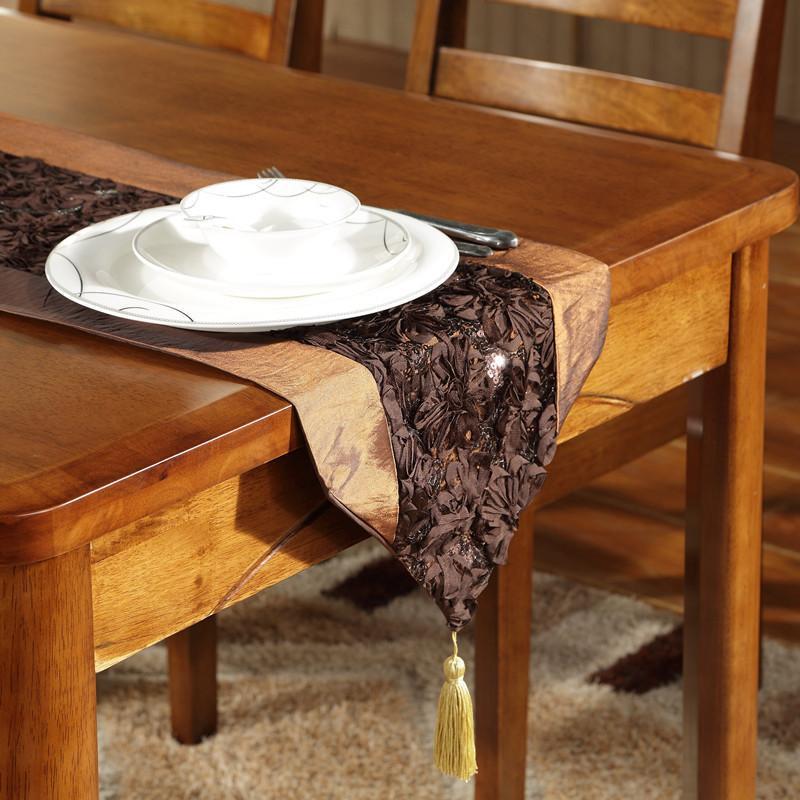 新古典后现代胡桃木色纯实木餐桌椅组合