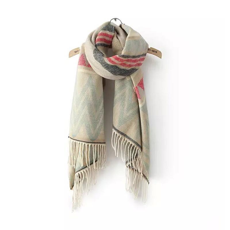 秋冬新款两头大波浪纹提花仿羊绒流苏围巾保暖围脖女