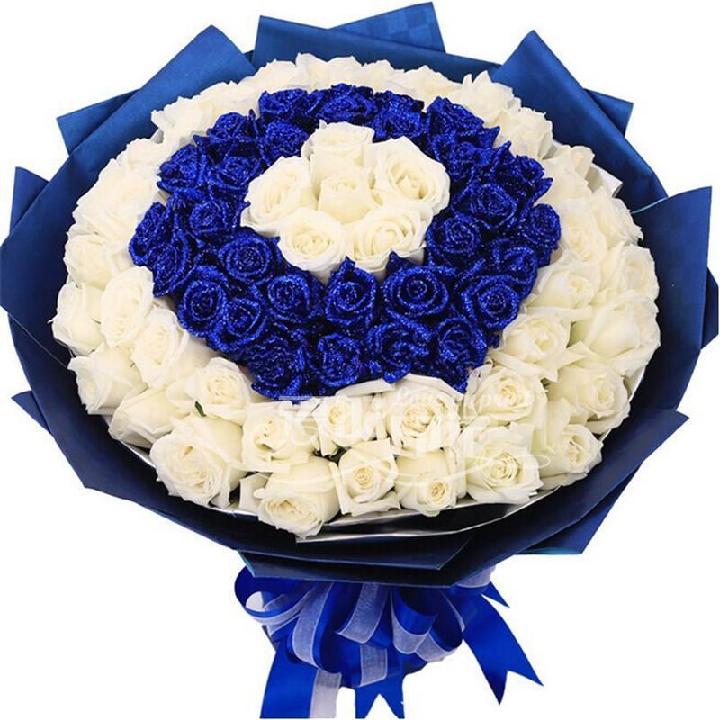 钟表/珠宝/礼品 礼品 鲜花速递 爱的印记 爱的印记 99朵混搭玫瑰 (蓝