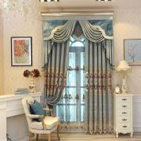 欧式窗帘客厅成品_木儿家居 欧式窗帘成品卧室客厅飘窗遮光窗帘 布0.1米
