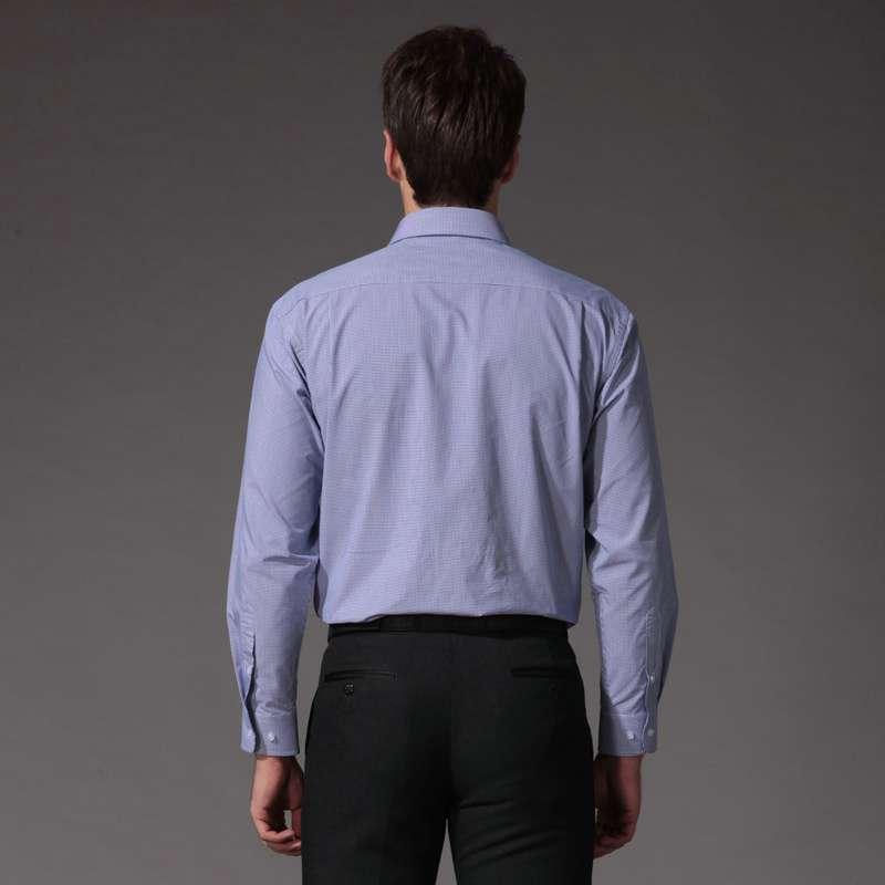 杉杉服装定位_杉杉firs 男装商务定位花长袖衬衫cvcb0215(蓝色小方格/41)