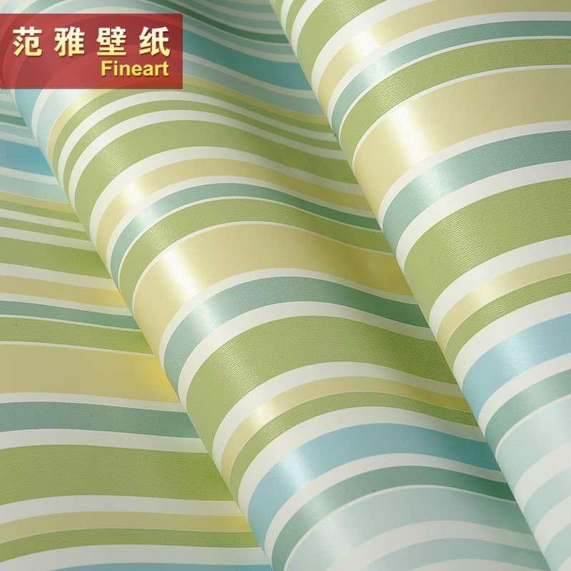 范雅壁纸纯纸壁纸卧室背景墙可爱卡通竖线条儿童房墙纸欧雅6a16