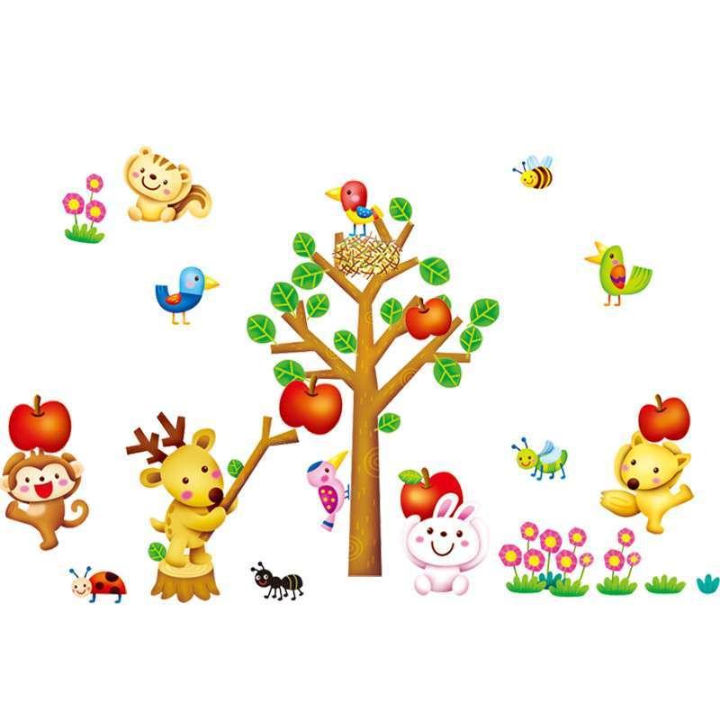 贝贝梦韩国进口 儿童贴纸 卡通墙贴 环保梦幻贴纸 小动物与苹果树fdt