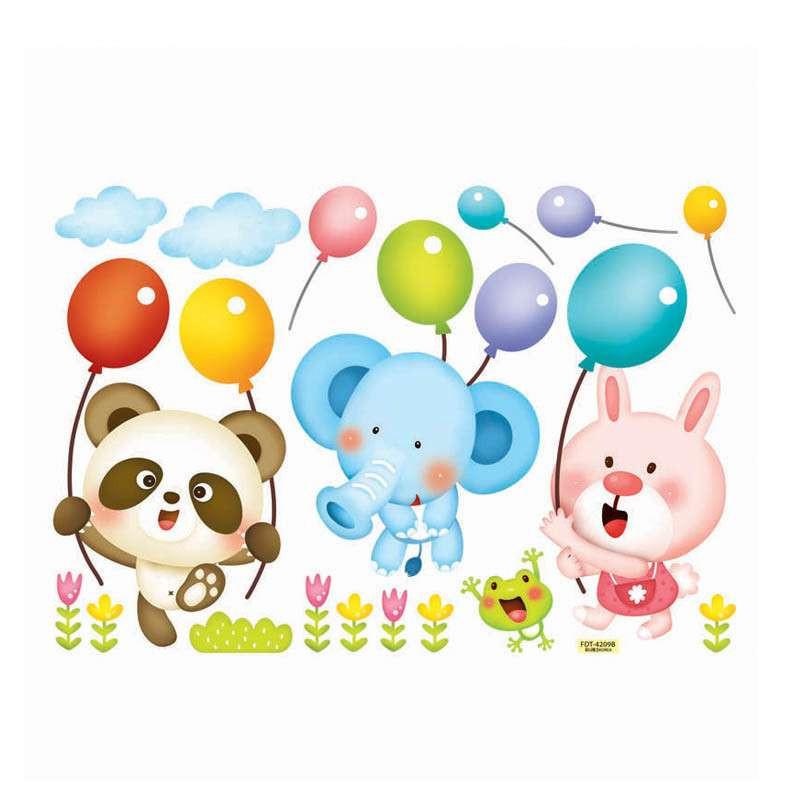 贝贝梦 韩国进口 儿童房墙贴 可移除 卡通夜光贴纸 气球 小动物fd