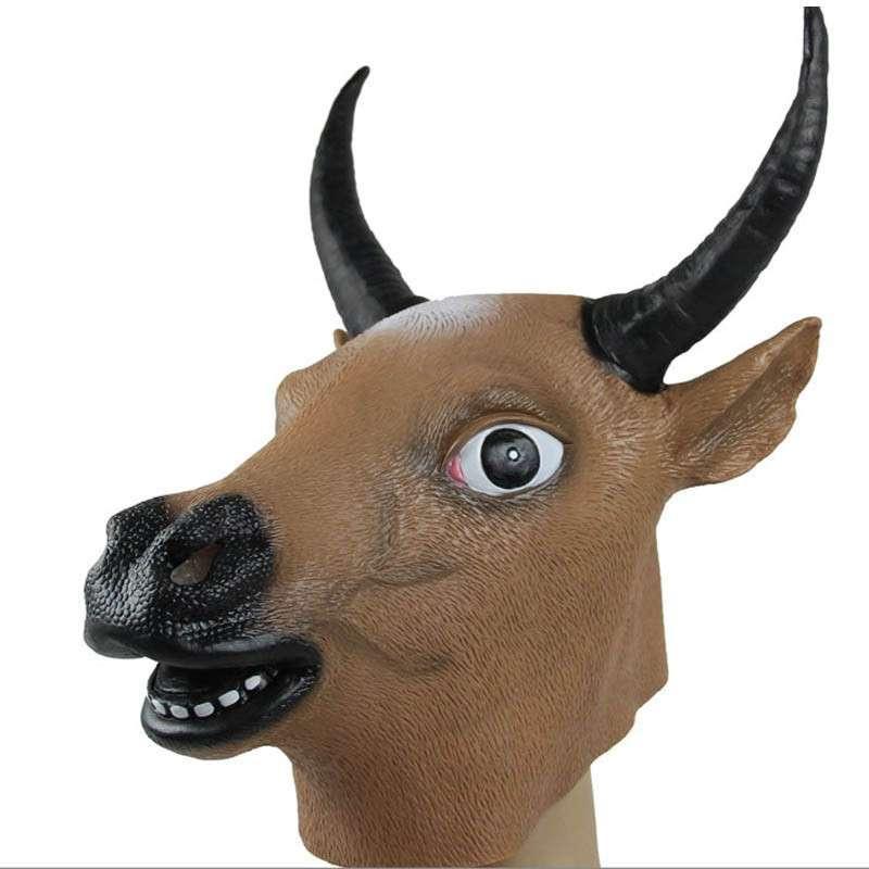 化装舞会 动物表演装饰 动物面具 牛头马面面具 环保乳胶 牛头套 黄色