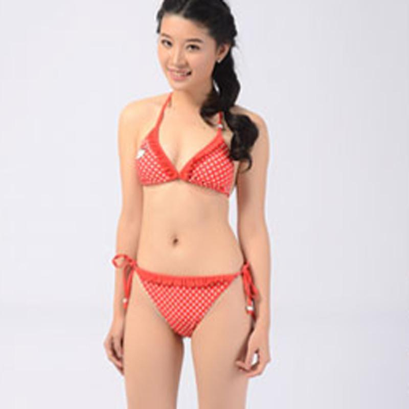 白领公社 沙滩比基尼温泉泳装 猫图案可爱女生三角泳衣 红色s