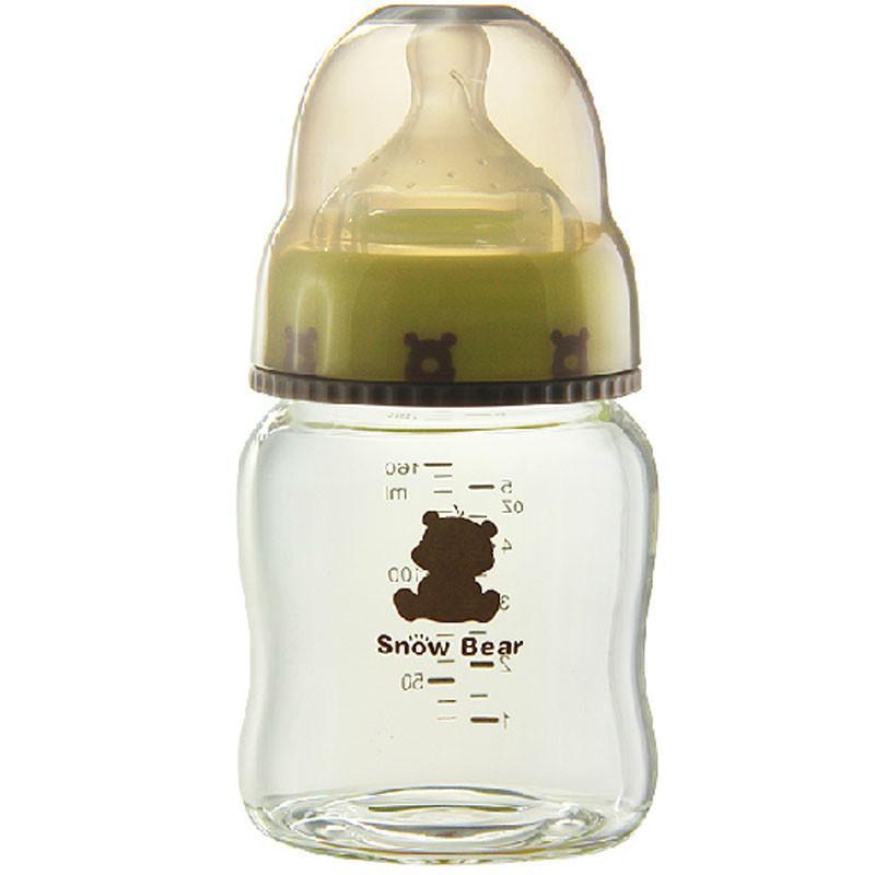 小白熊婴儿玻璃奶瓶 宽口玻璃奶瓶可爱奶瓶160ml 09316
