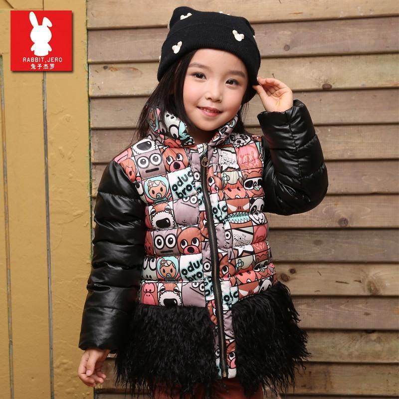 童装女童冬装棉衣外套2015冬韩版加厚可爱动漫图案蕾丝下摆棉服潮
