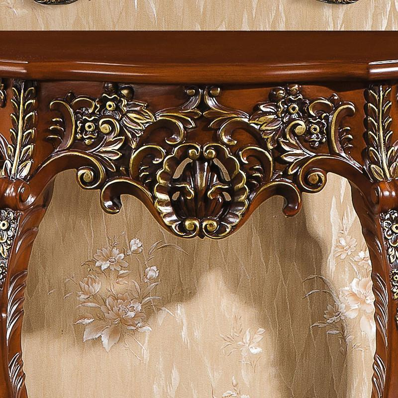 帝轩名典 欧式玄关台 象牙白雕花镂空描金玄关桌 梳妆