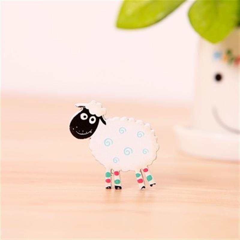 创意可爱木质卡通动物糖果色韩国小小冰箱贴磁铁吸铁石(小绵羊)蓝色