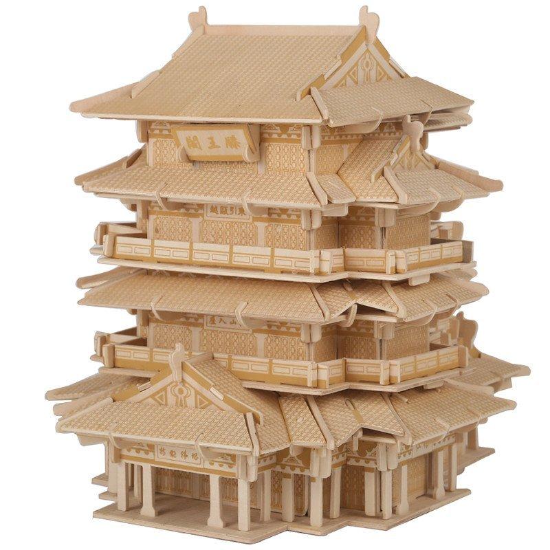 木质木制3d立体拼图古建筑