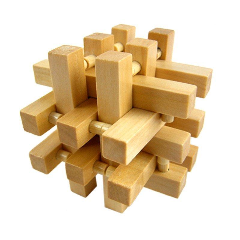 菠萝锁十八罗汉锁 木质孔明锁鲁班锁 解锁 解套 儿童智力成人动手拼装