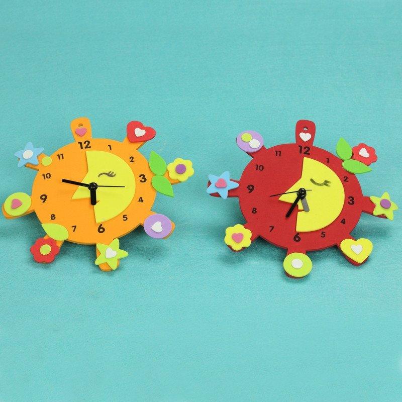 手工创意钟表 儿童益智diy玩具幼儿园手工制作eva材料图片
