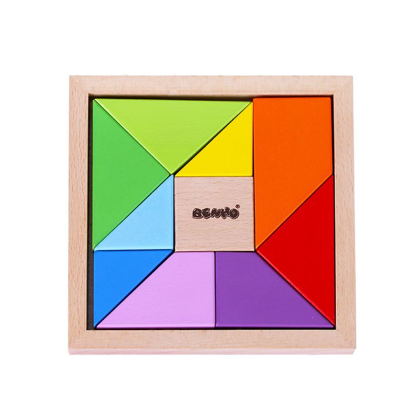 木玩世家七巧板拼图10巧板q2501t新颖拼板积木儿童木制玩具宝宝益智图片
