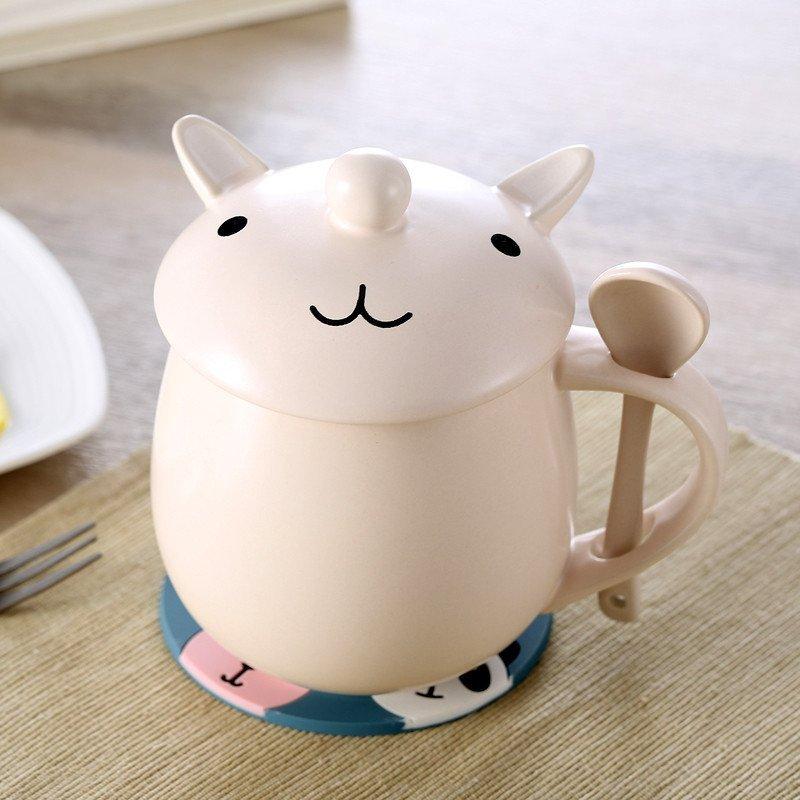 创意马克杯 陶瓷杯 带盖带勺 可爱卡通杯子 水杯茶杯咖啡杯 超萌兔子
