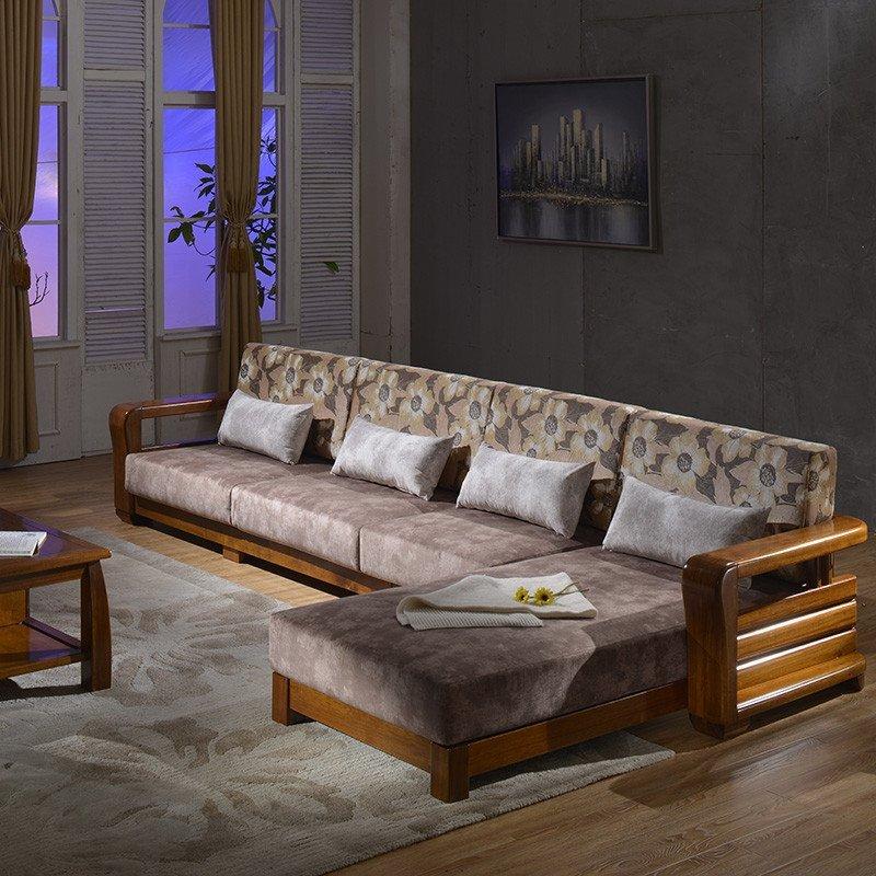 麦涵 中式实木沙发组合 布木沙发l形金丝檀木转角沙发
