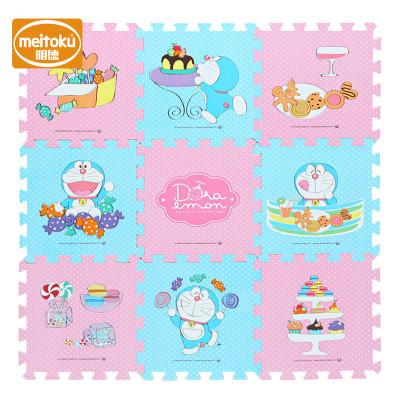 Meitoku明德PE覆膜环保拼接泡沫地垫爬行垫宝宝游戏垫 糖果哆啦A梦1-3岁 30*1.0cm(9片/包)