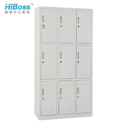 HiBoss 九門更衣柜員工柜鐵衣柜儲物柜宿舍車間鐵皮柜9門柜
