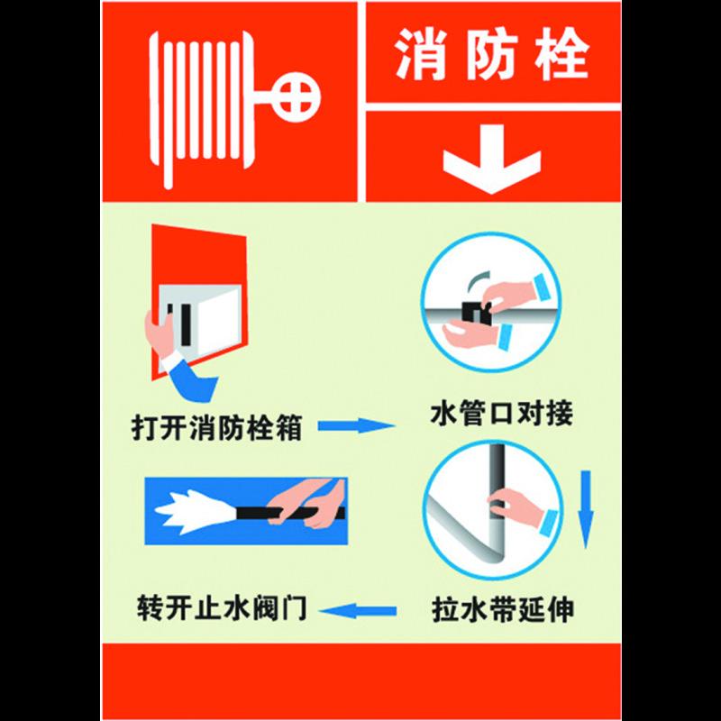 安赛瑞 消防设备使用步骤标识(消防栓)- 自粘性乙烯材料 200×260mm x