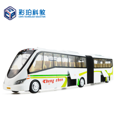 彩珀双节巴士旅游巴士玩具车汽车模型全合金车大号车模男孩宝宝礼物 颜色随机