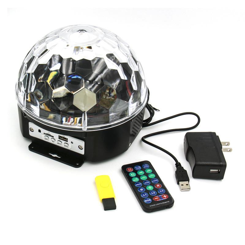 够能耐 led声控彩灯9色水晶魔球舞台灯光七彩旋转灯家用ktv激光灯包房