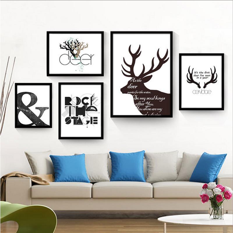 客厅装饰画餐厅挂画卧室床头壁画创意组合墙画美式北欧麋鹿 简约鹿