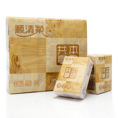顺清柔共享本色迷你型面巾纸(18包)