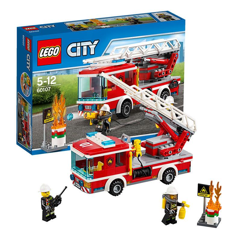 乐高lego拼插拼装积木玩具城市系列60107云梯消防车5岁
